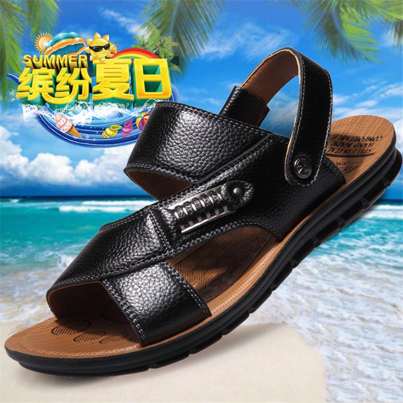 夏季新款休闲头层牛皮防滑真皮男士凉鞋