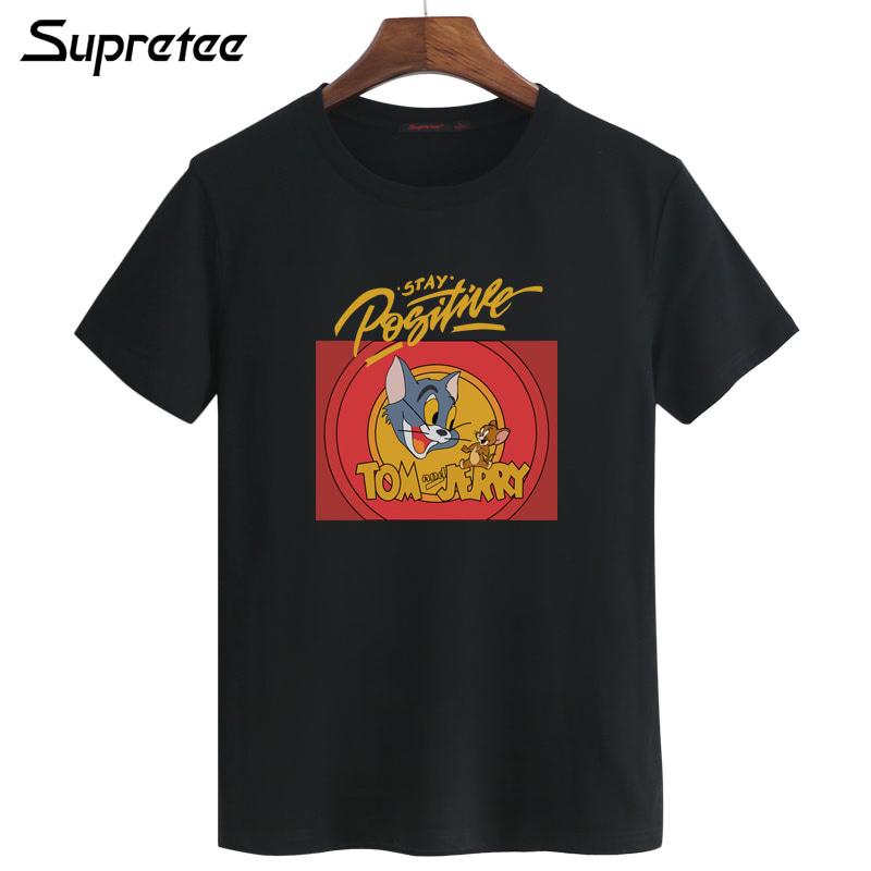 汤姆猫和老鼠创意个性短袖青少年韩版潮流男士T恤衫修身夏季半袖