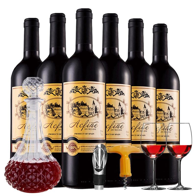 西班牙原瓶进口红酒艾丝菲尔干红葡萄酒6支装(750ml*6)送酒具
